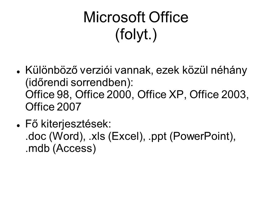 Microsoft Office (folyt.)