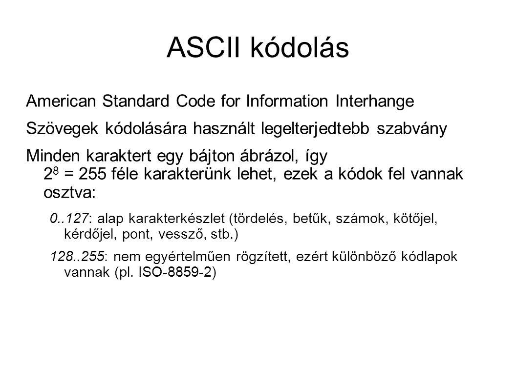 ASCII kódolás American Standard Code for Information Interhange