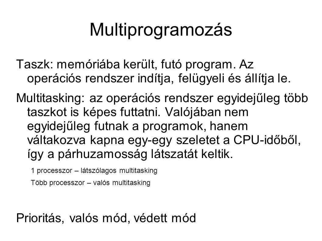 Multiprogramozás Taszk: memóriába került, futó program. Az operációs rendszer indítja, felügyeli és állítja le.