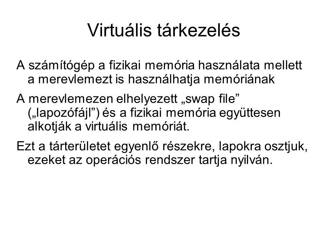 Virtuális tárkezelés A számítógép a fizikai memória használata mellett a merevlemezt is használhatja memóriának.