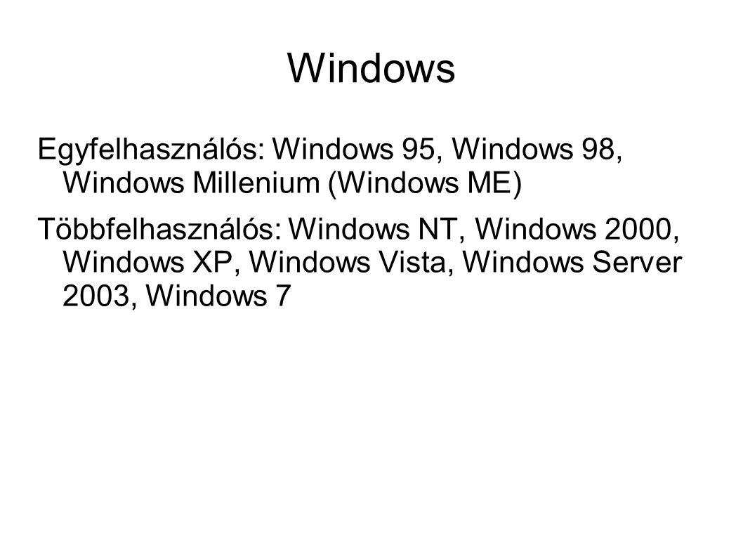 Windows Egyfelhasználós: Windows 95, Windows 98, Windows Millenium (Windows ME)