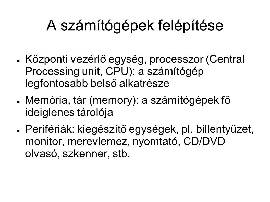 A számítógépek felépítése