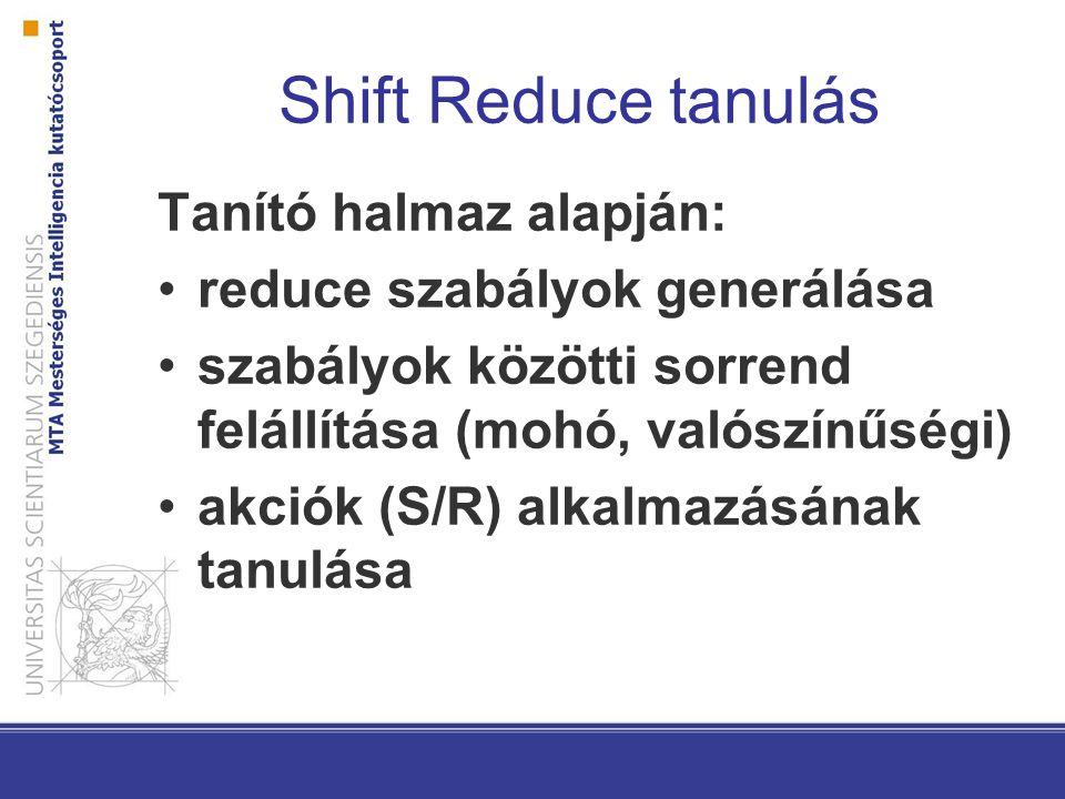 Shift Reduce tanulás Tanító halmaz alapján: