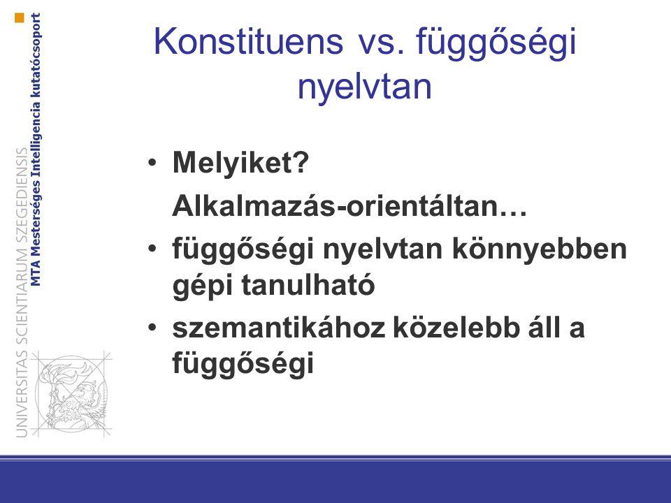 Konstituens vs. függőségi nyelvtan