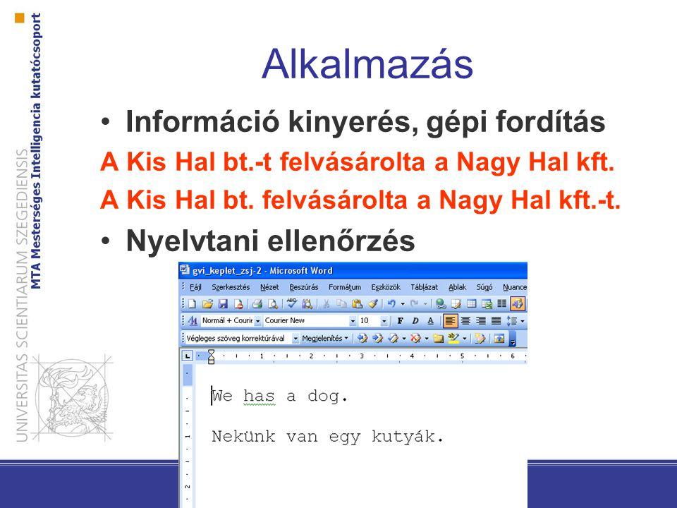 Alkalmazás Információ kinyerés, gépi fordítás Nyelvtani ellenőrzés