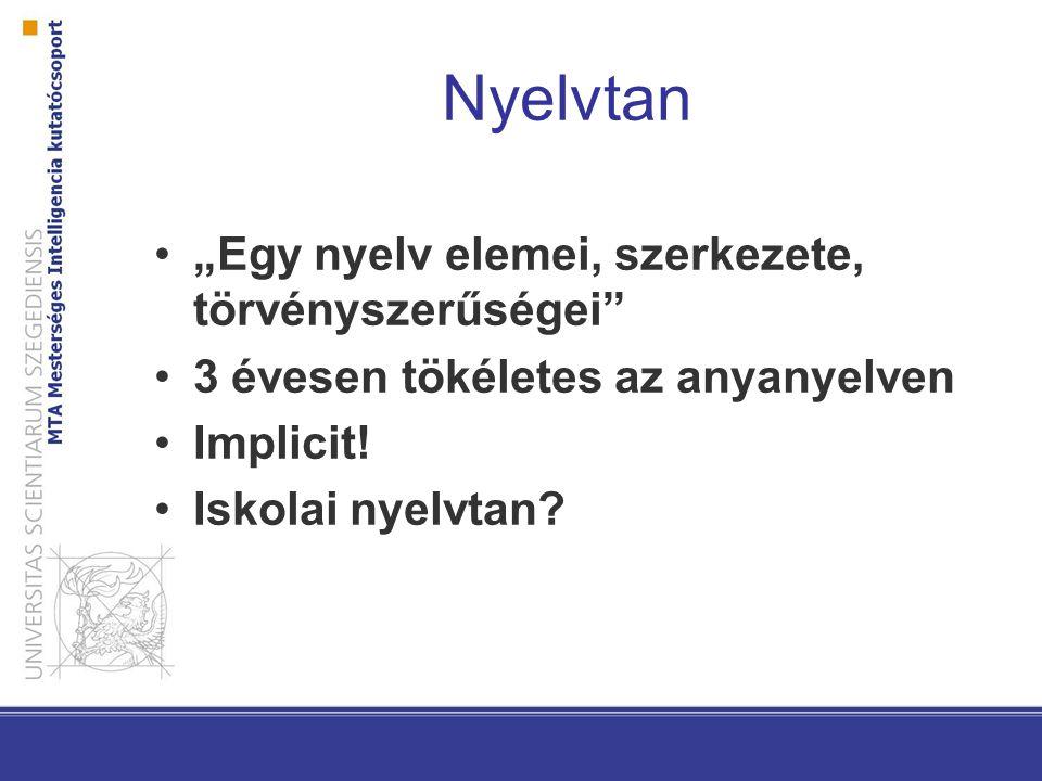 """Nyelvtan """"Egy nyelv elemei, szerkezete, törvényszerűségei"""