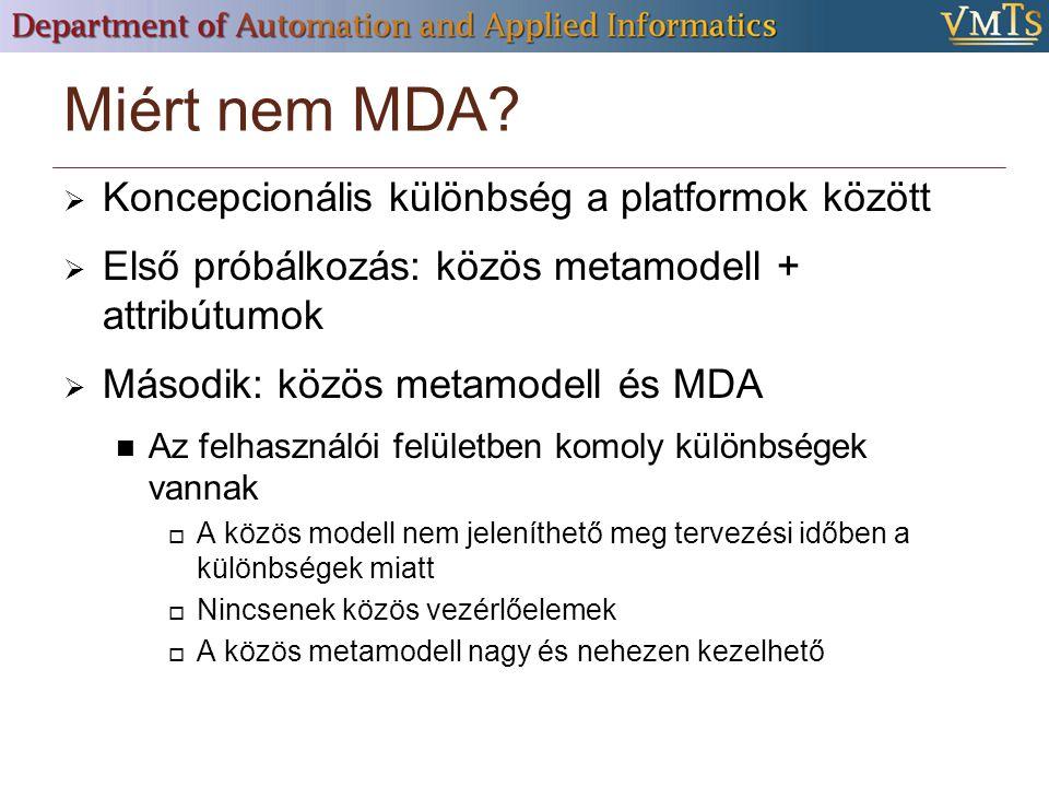 Miért nem MDA Koncepcionális különbség a platformok között