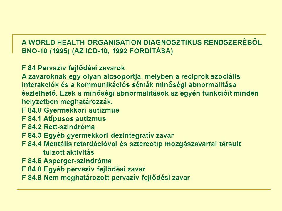 A WORLD HEALTH ORGANISATION DIAGNOSZTIKUS RENDSZERÉBŐL BNO-10 (1995) (AZ ICD-10, 1992 FORDÍTÁSA)