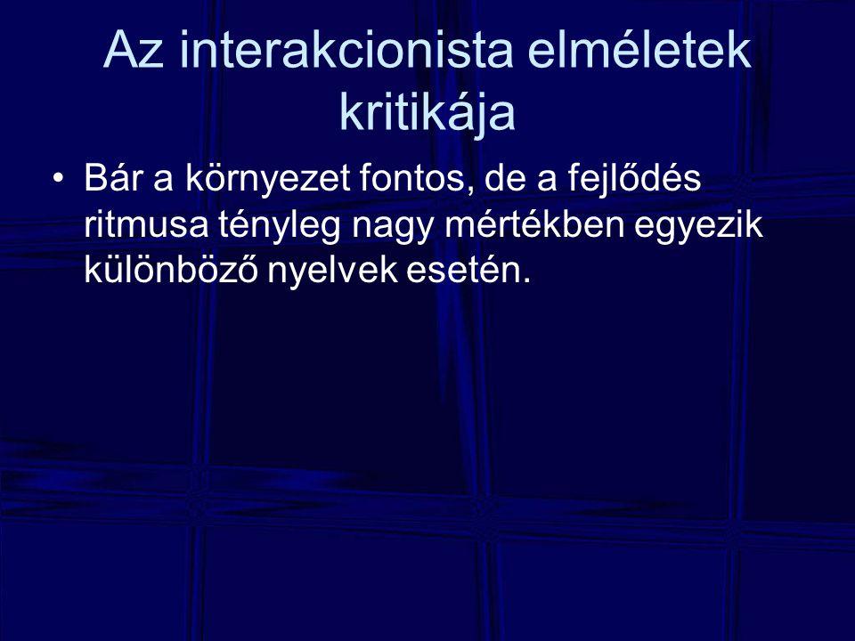 Az interakcionista elméletek kritikája