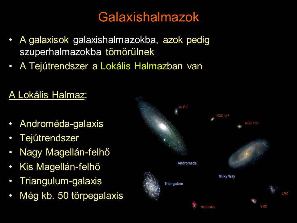 Galaxishalmazok A galaxisok galaxishalmazokba, azok pedig szuperhalmazokba tömörülnek. A Tejútrendszer a Lokális Halmazban van.