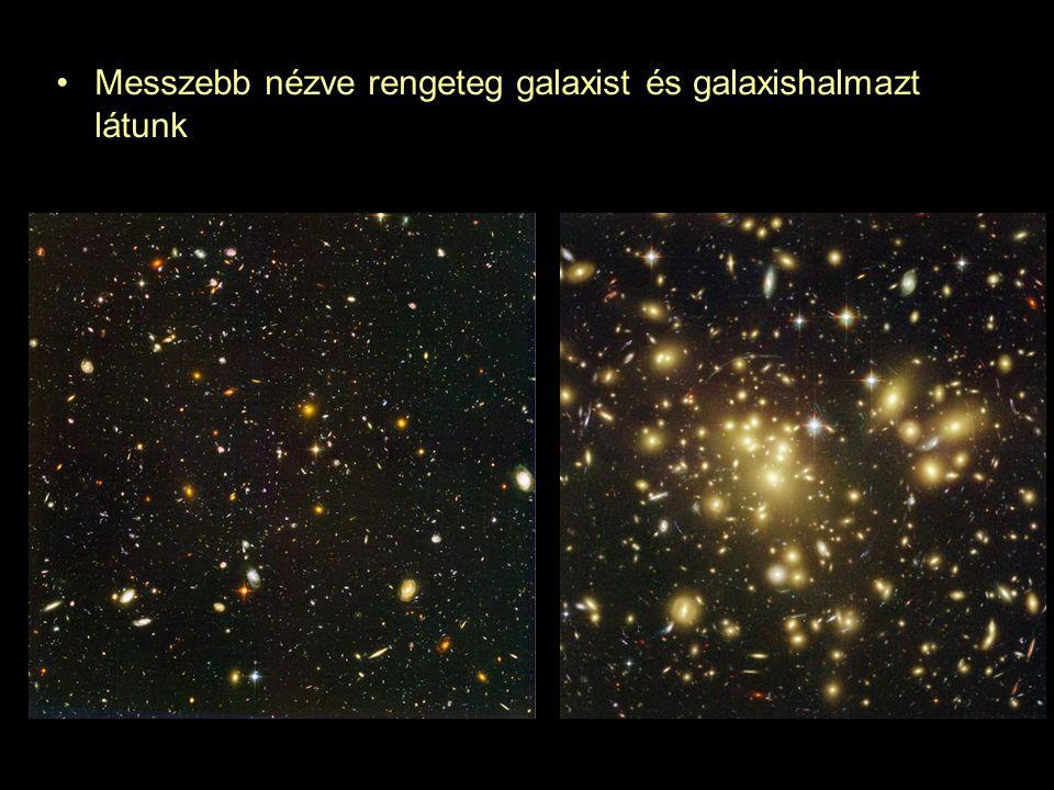 Messzebb nézve rengeteg galaxist és galaxishalmazt látunk