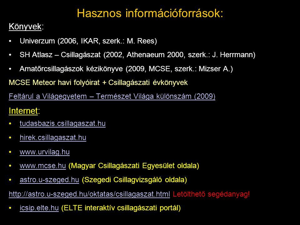 Hasznos információforrások: