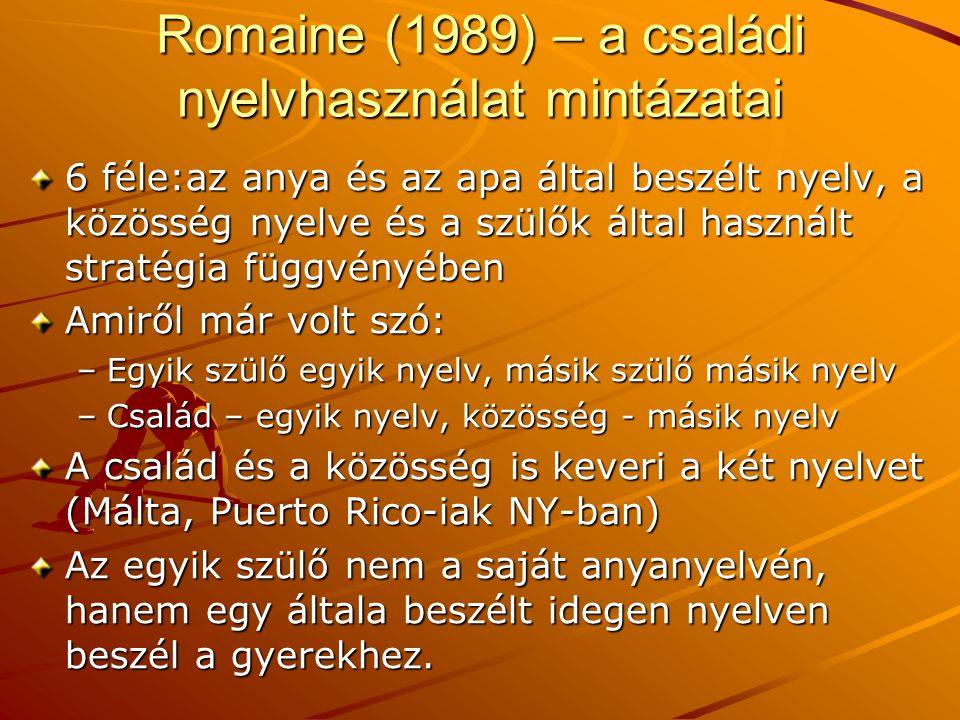 Romaine (1989) – a családi nyelvhasználat mintázatai