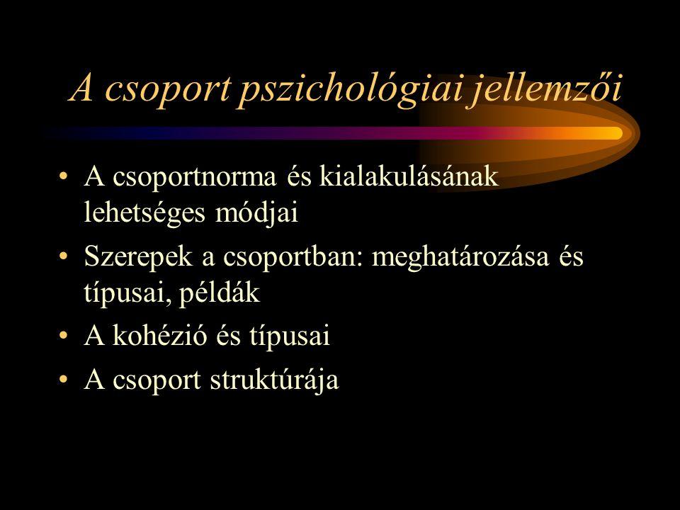 A csoport pszichológiai jellemzői