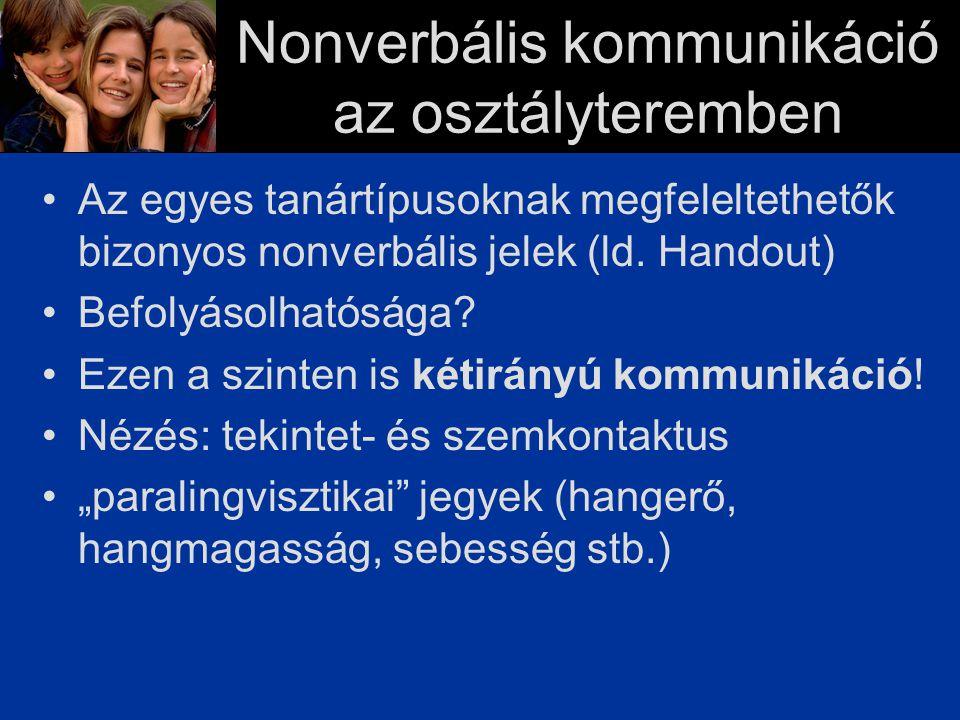 Nonverbális kommunikáció az osztályteremben