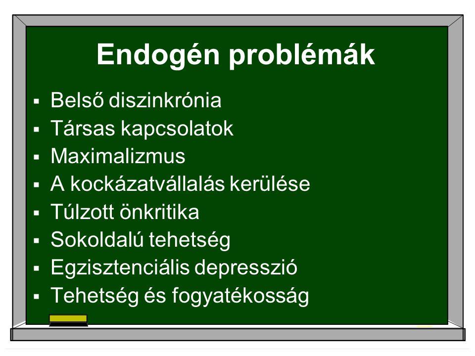 Endogén problémák Belső diszinkrónia Társas kapcsolatok Maximalizmus