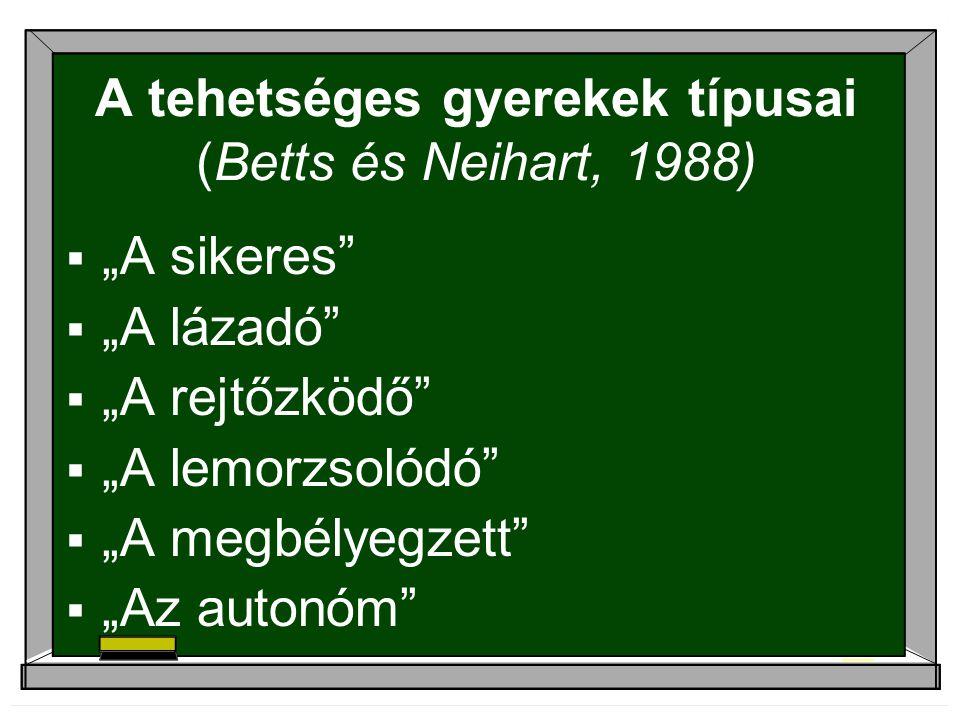 A tehetséges gyerekek típusai (Betts és Neihart, 1988)