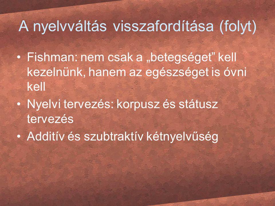 A nyelvváltás visszafordítása (folyt)