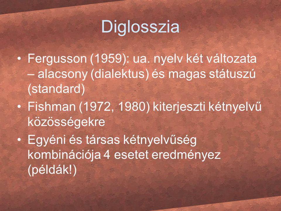 Diglosszia Fergusson (1959): ua. nyelv két változata – alacsony (dialektus) és magas státuszú (standard)