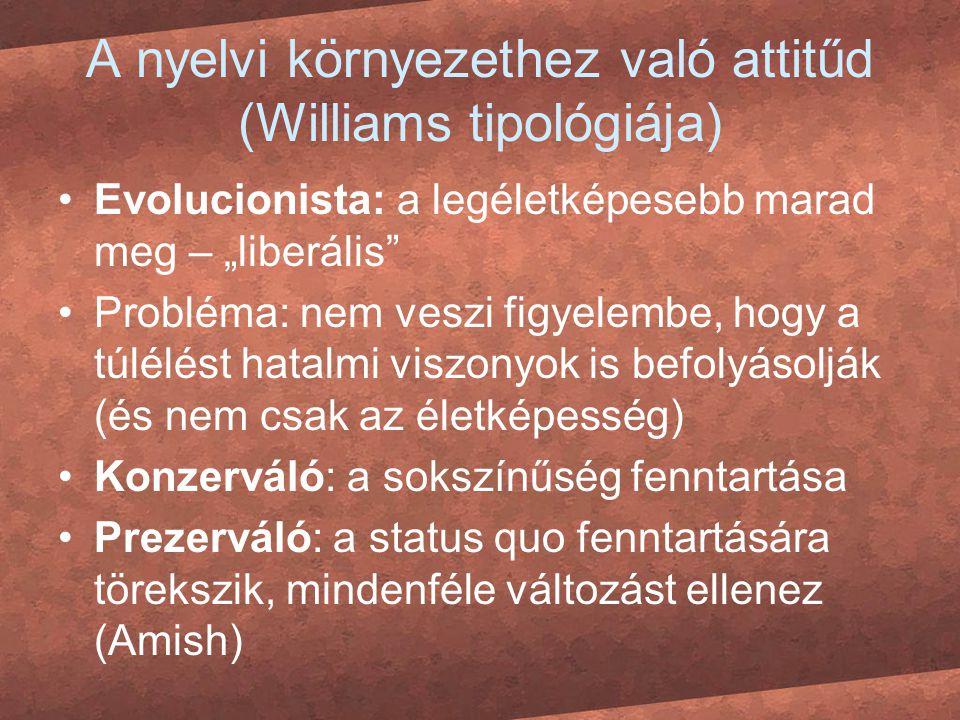 A nyelvi környezethez való attitűd (Williams tipológiája)