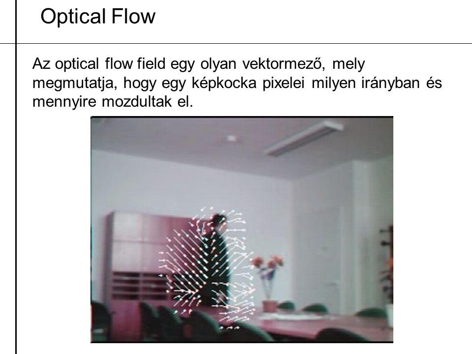 Optical Flow Az optical flow field egy olyan vektormező, mely megmutatja, hogy egy képkocka pixelei milyen irányban és mennyire mozdultak el.