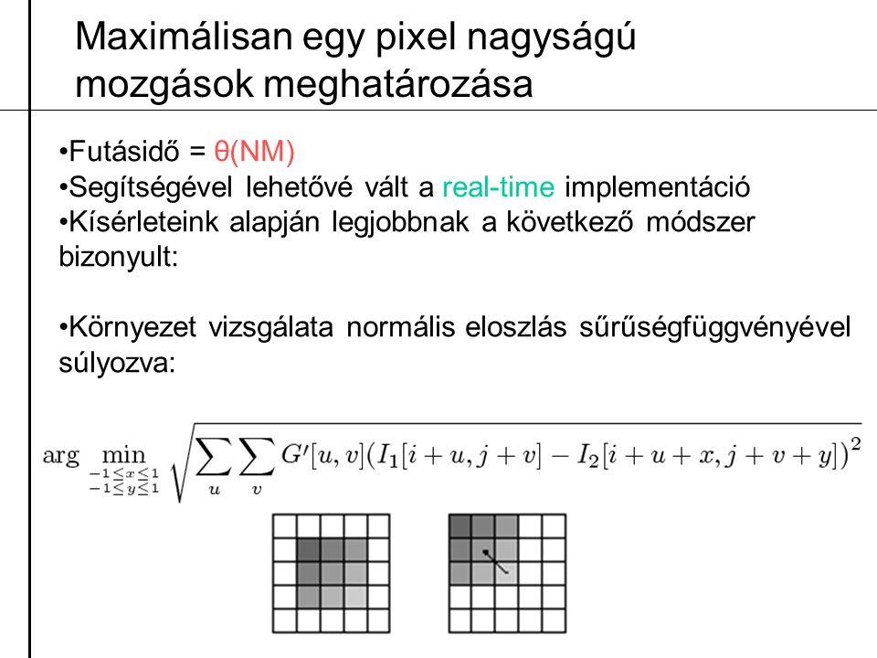 Maximálisan egy pixel nagyságú mozgások meghatározása
