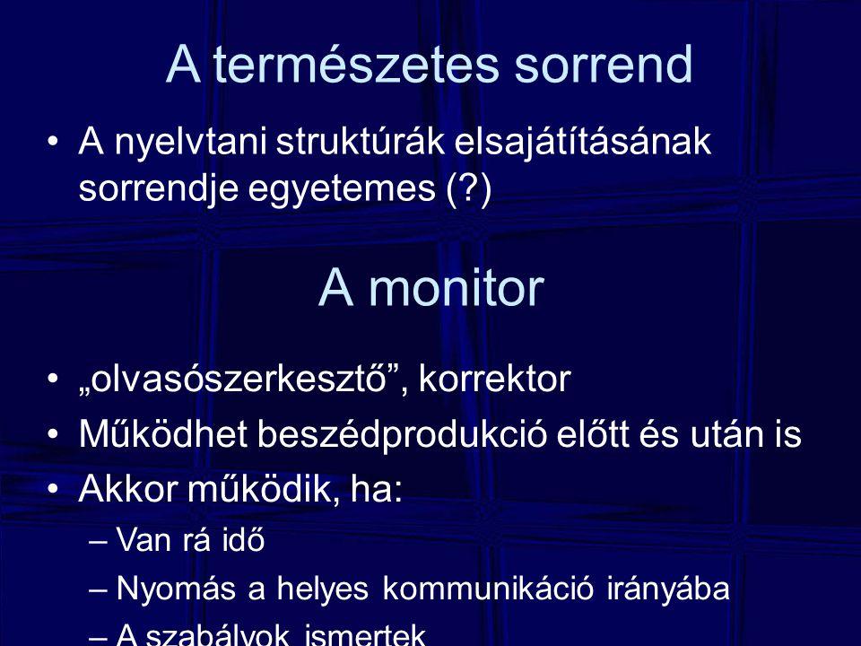 A természetes sorrend A monitor