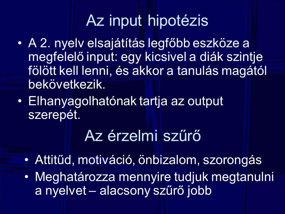 Az input hipotézis Az érzelmi szűrő