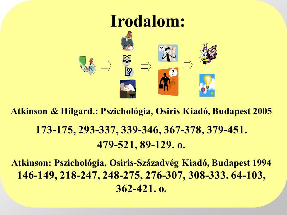 Irodalom: Atkinson & Hilgard.: Pszichológia, Osiris Kiadó, Budapest 2005 173-175, 293-337, 339-346, 367-378, 379-451. 479-521, 89-129. o.