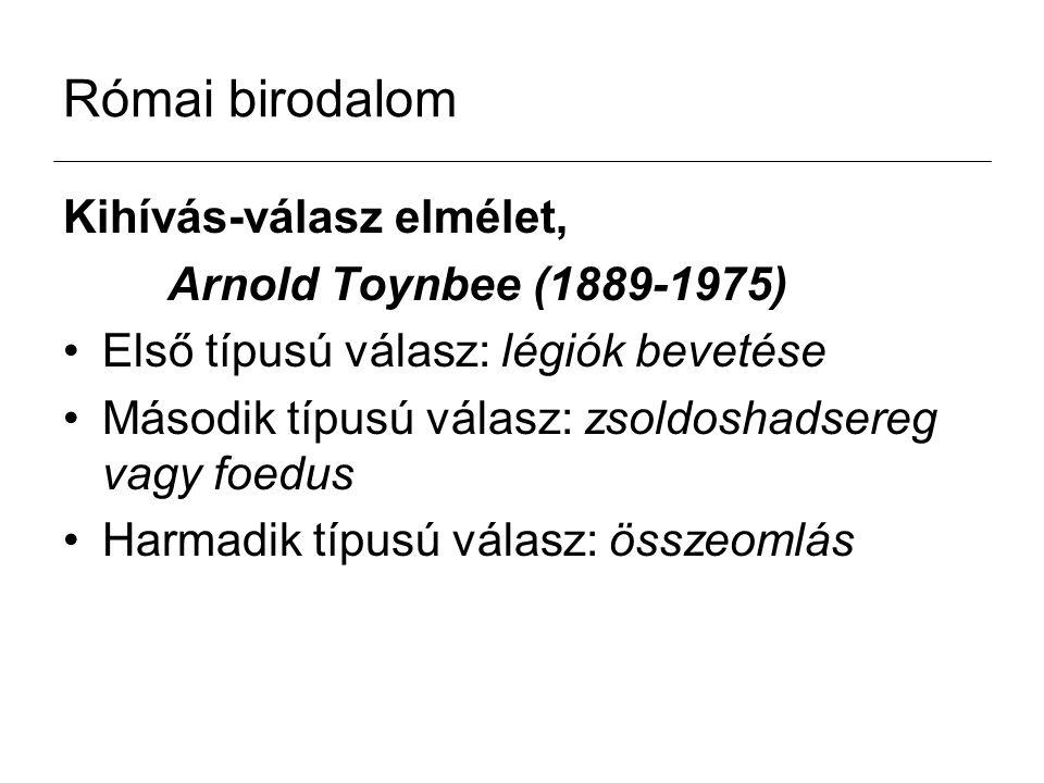 Római birodalom Kihívás-válasz elmélet, Arnold Toynbee (1889-1975)