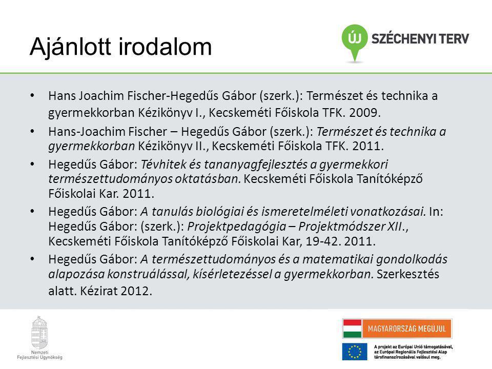 Ajánlott irodalom Hans Joachim Fischer-Hegedűs Gábor (szerk.): Természet és technika a gyermekkorban Kézikönyv I., Kecskeméti Főiskola TFK. 2009.