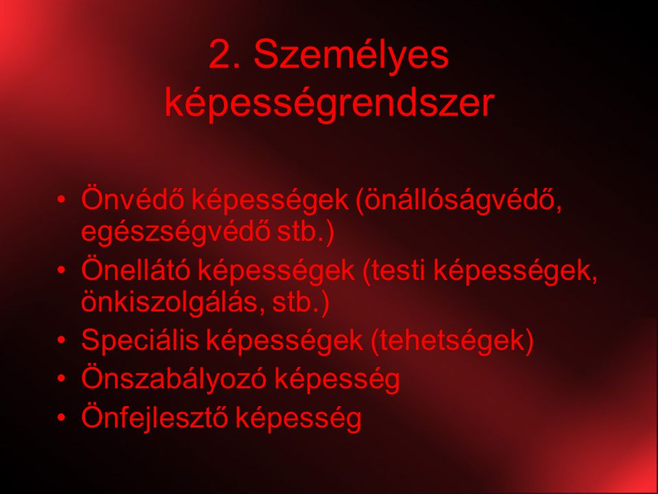 2. Személyes képességrendszer