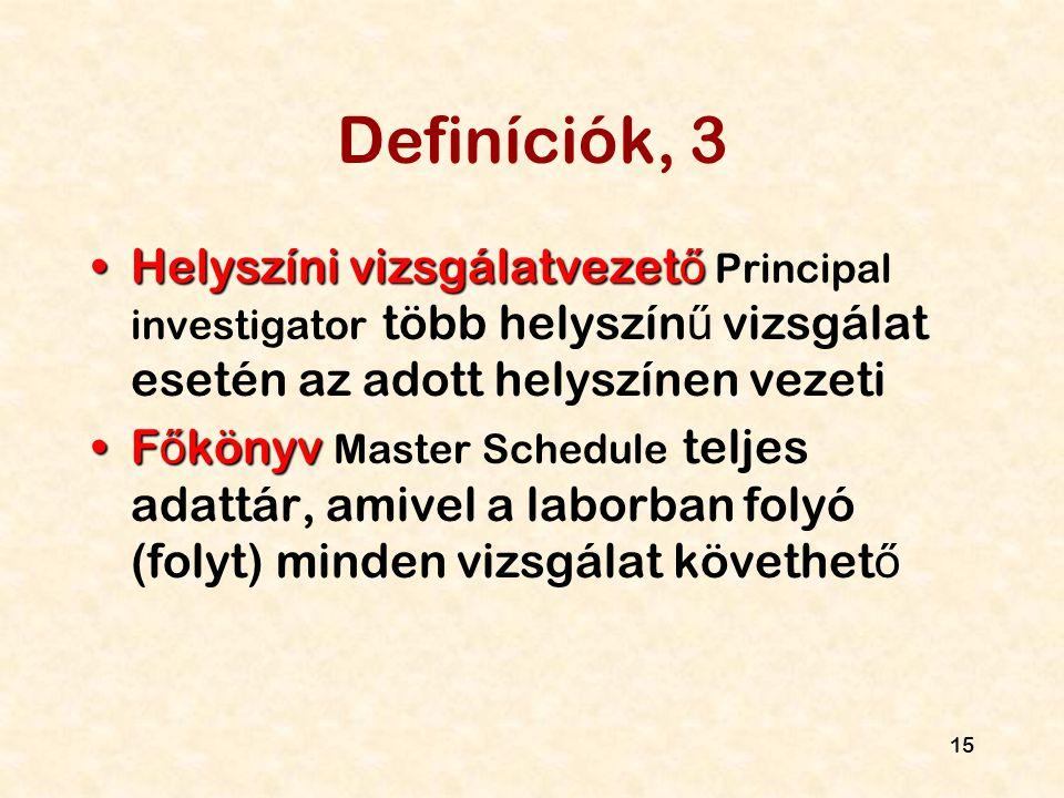 Definíciók, 3 Helyszíni vizsgálatvezető Principal investigator több helyszínű vizsgálat esetén az adott helyszínen vezeti.