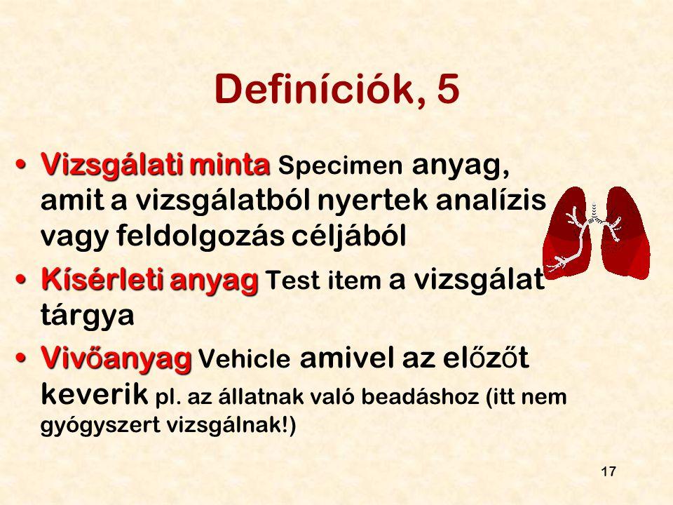 Definíciók, 5 Vizsgálati minta Specimen anyag, amit a vizsgálatból nyertek analízis vagy feldolgozás céljából.