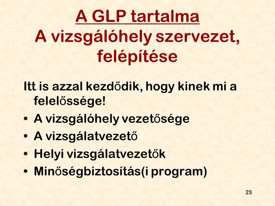 A GLP tartalma A vizsgálóhely szervezet, felépítése