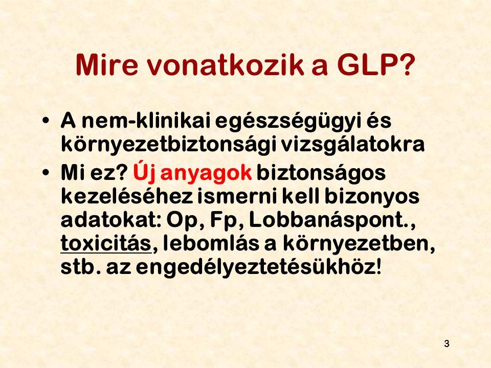 Mire vonatkozik a GLP A nem-klinikai egészségügyi és környezetbiztonsági vizsgálatokra.