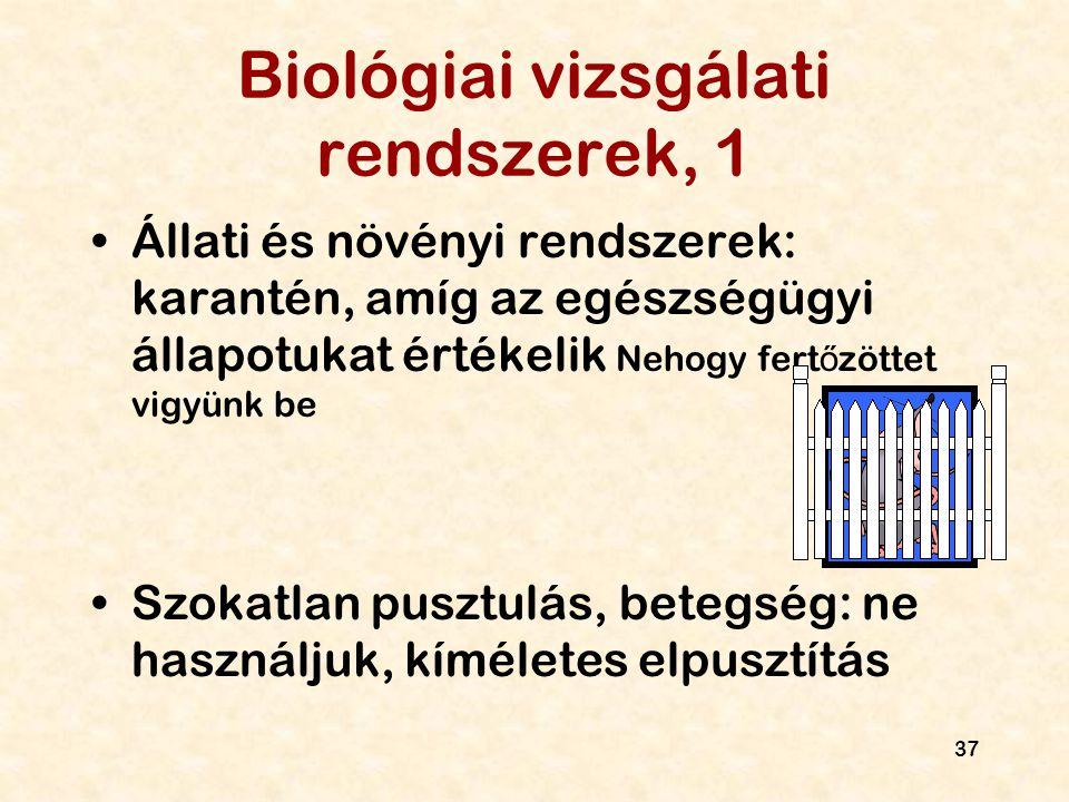 Biológiai vizsgálati rendszerek, 1