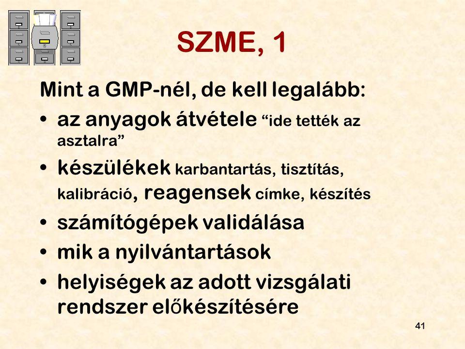 SZME, 1 Mint a GMP-nél, de kell legalább: