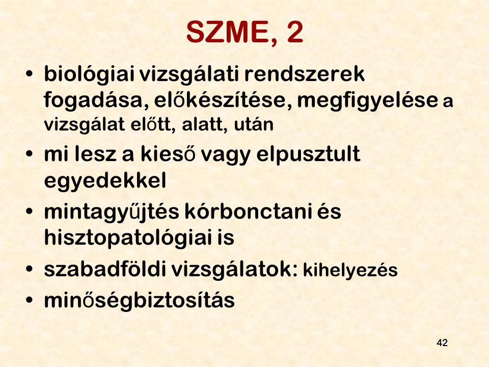 SZME, 2 biológiai vizsgálati rendszerek fogadása, előkészítése, megfigyelése a vizsgálat előtt, alatt, után.