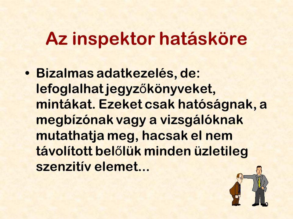 Az inspektor hatásköre