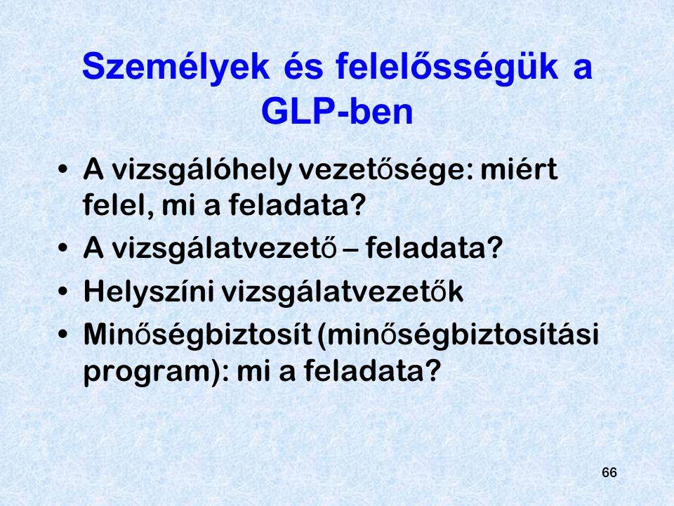 Személyek és felelősségük a GLP-ben
