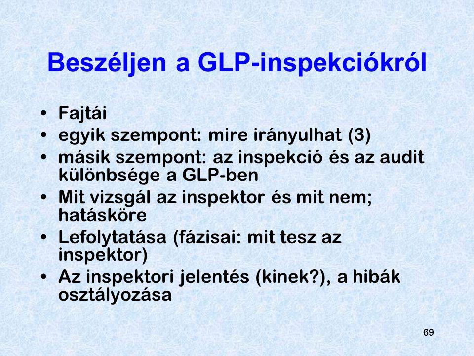 Beszéljen a GLP-inspekciókról