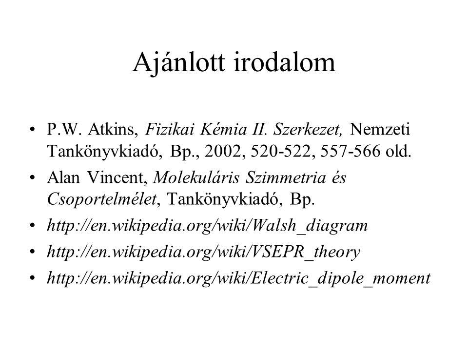 Ajánlott irodalom P.W. Atkins, Fizikai Kémia II. Szerkezet, Nemzeti Tankönyvkiadó, Bp., 2002, 520-522, 557-566 old.