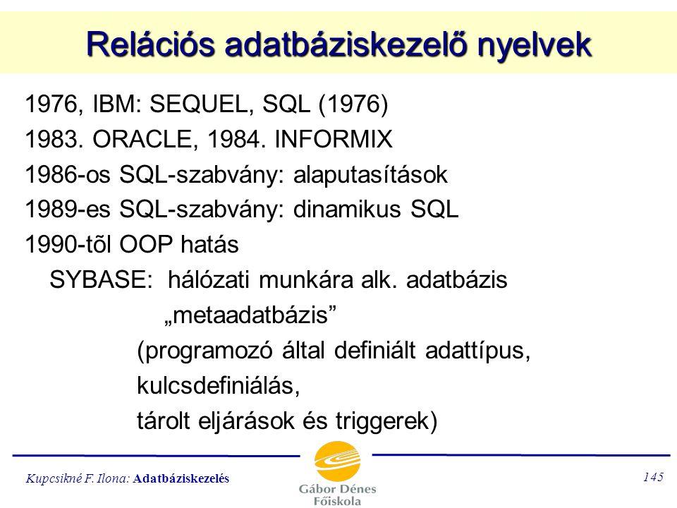 Relációs adatbáziskezelő nyelvek