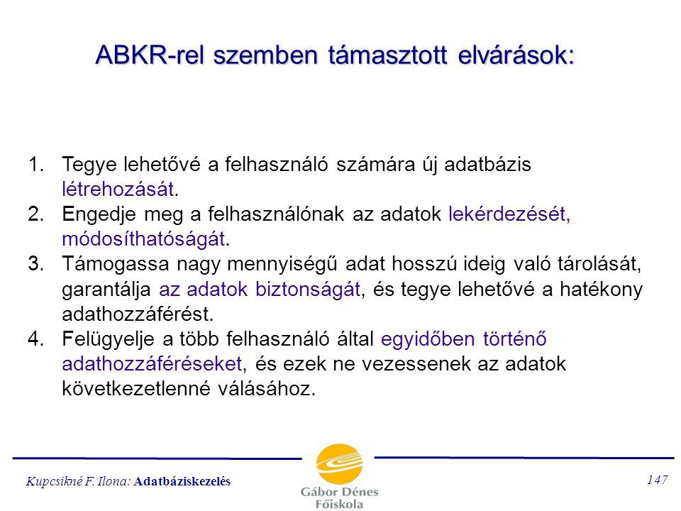 ABKR-rel szemben támasztott elvárások:
