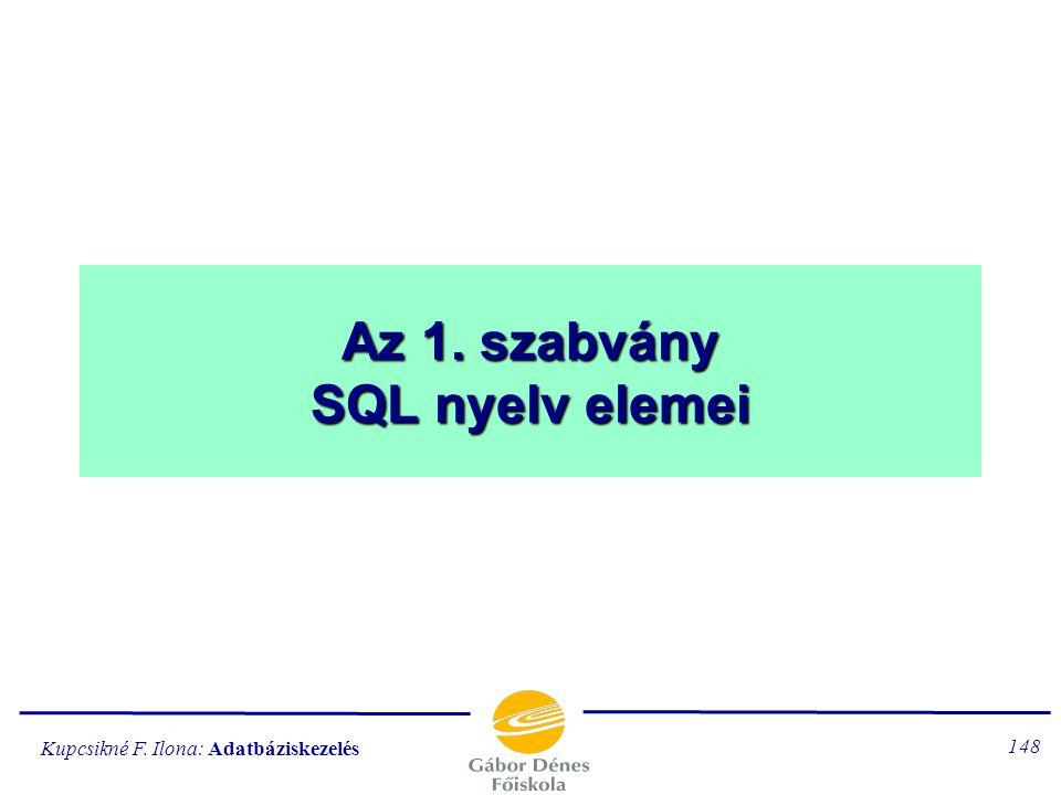 Az 1. szabvány SQL nyelv elemei