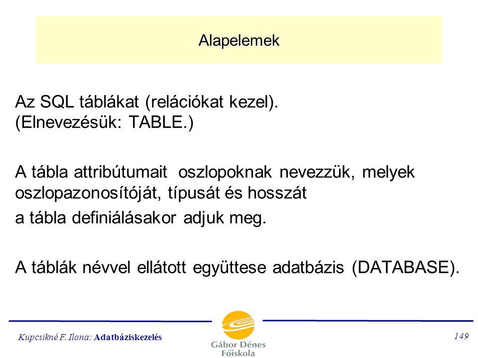 Az SQL táblákat (relációkat kezel). (Elnevezésük: TABLE.)