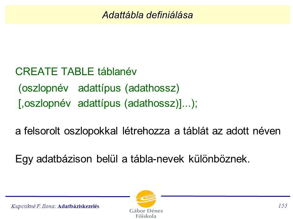 Adattábla definiálása