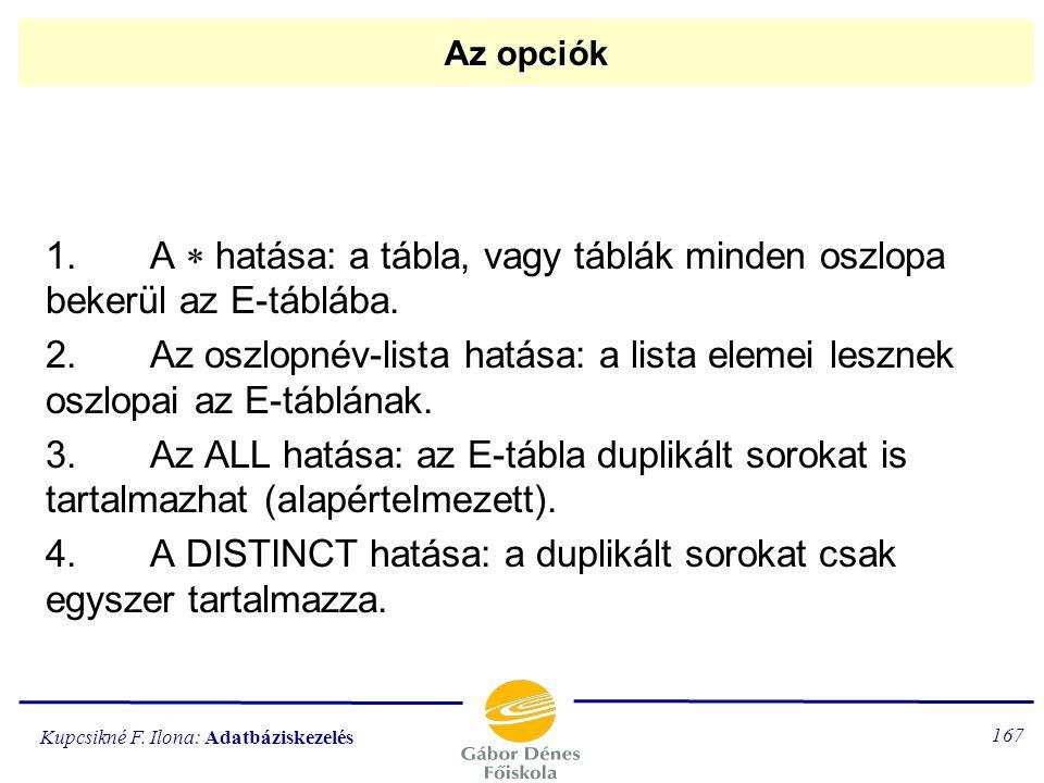 4. A DISTINCT hatása: a duplikált sorokat csak egyszer tartalmazza.