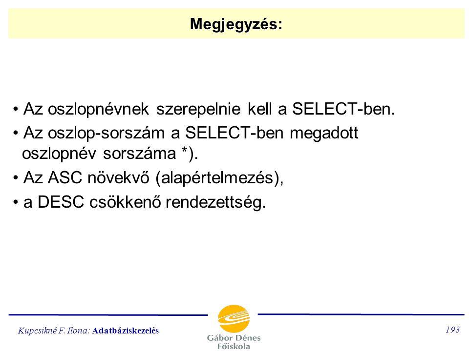 Az oszlopnévnek szerepelnie kell a SELECT-ben.